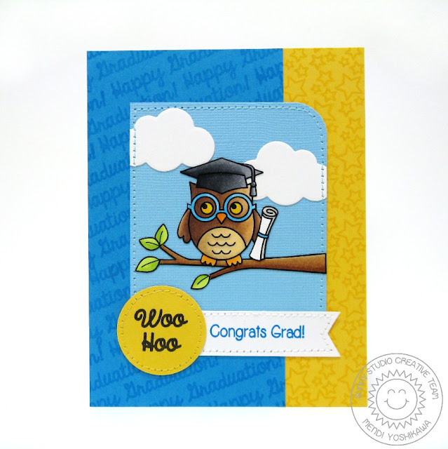 Sunny Studio Stamps: Owl Happy Graduation Card by Mendi Yoshikawa (using Woo Hoo, Sunny Borders & Rain or Shine Dies)