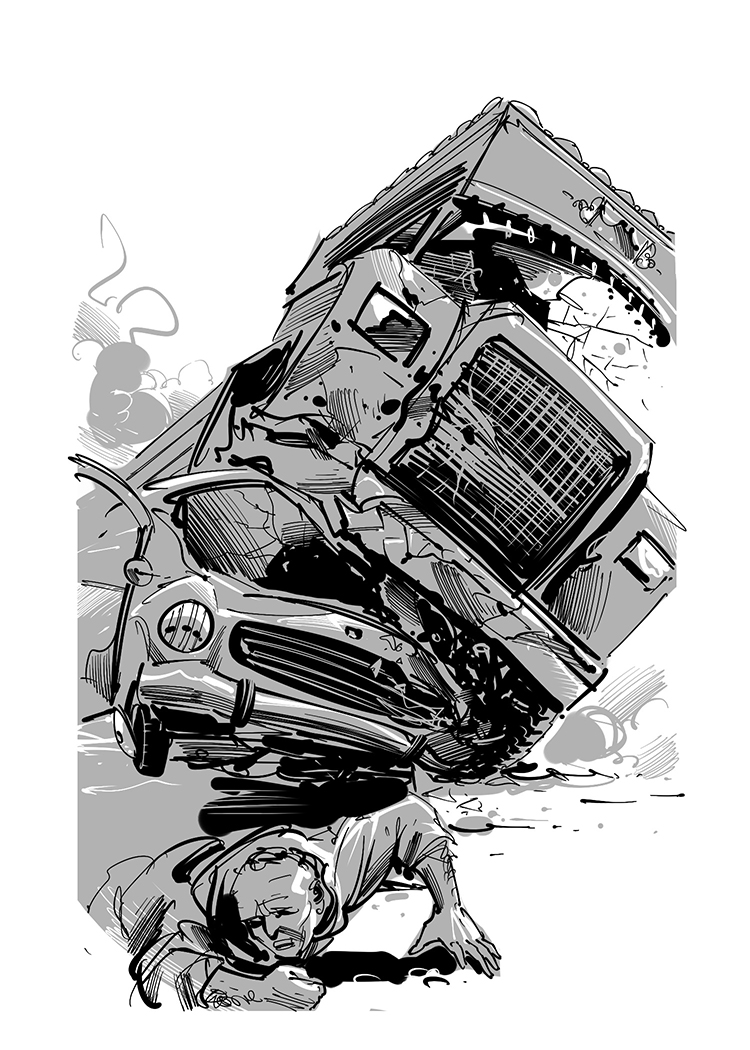 story book illustration street accident scene