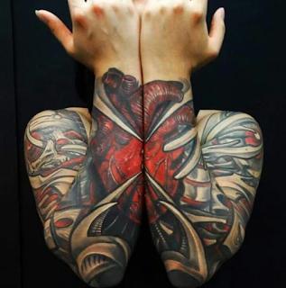 gambar tato tangan full block