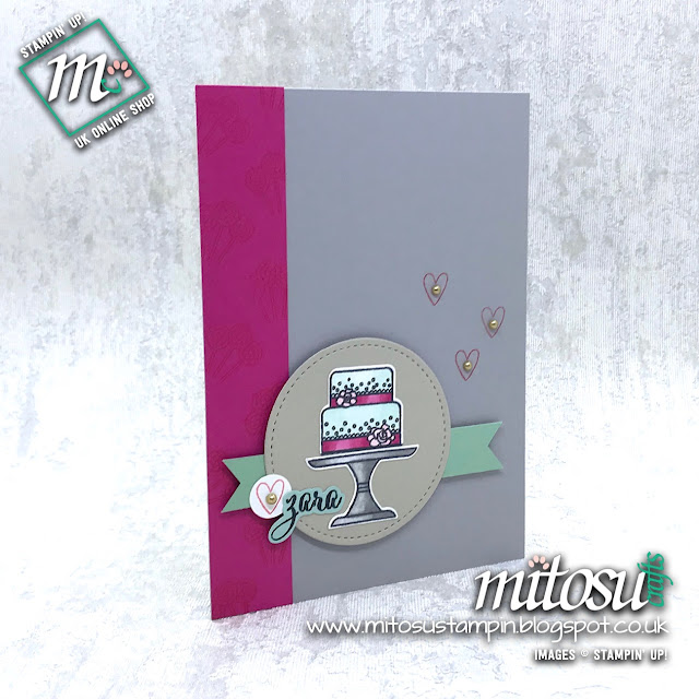Stampin' Up! Piece of Cake 2019 Bundle Card Idea. Order cardmaking supplies from Mitosu Crafts UK Online Shop