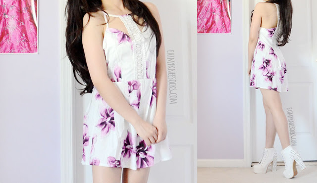 Details on the crochet-trim cutout detailed white sleeveless romper with purple floral print from SheIn, a great summer festival piece.