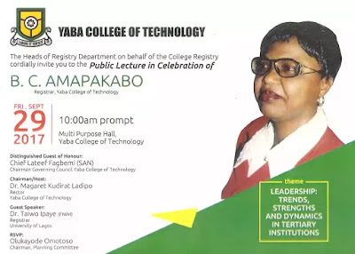 INVITATION TO THE PUBLIC LECTURE IN CELEBRATION OF THE REGISTRAR IN YABATECH