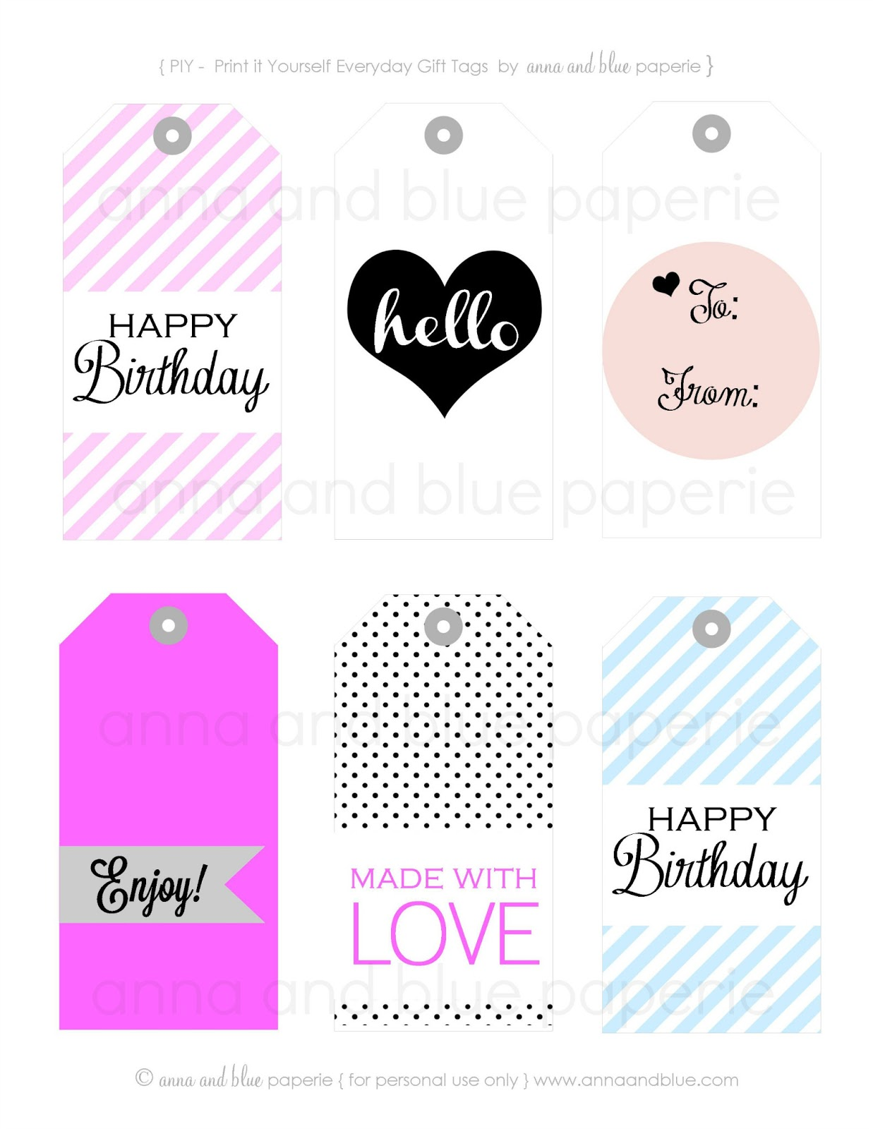 Anna And Blue Paperie: Gift Tags