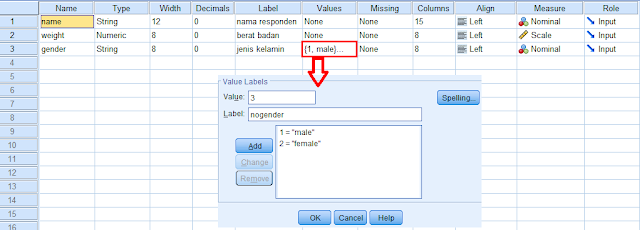 mendefinisikan data di sheet variabel view