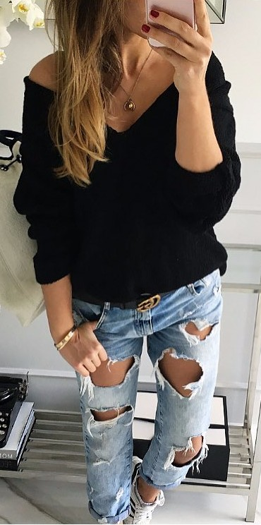 black knits + rips | street style perfection