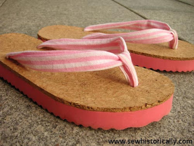 http://www.sewhistorically.com/diy-fabric-cork-flip-flops-tutorial/
