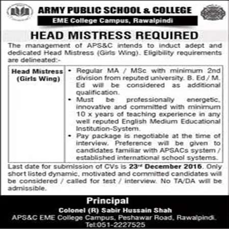 Head Masters jobs in Army Public School and College Rawalpindi