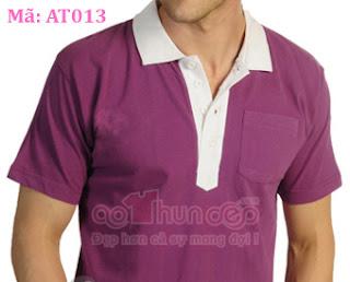 áo thun đồng phục polo màu tím cà cổ trắng ma at013