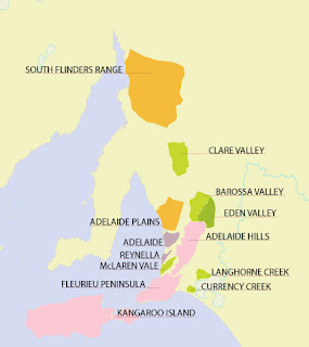 The wine-growing regions near Adelaide