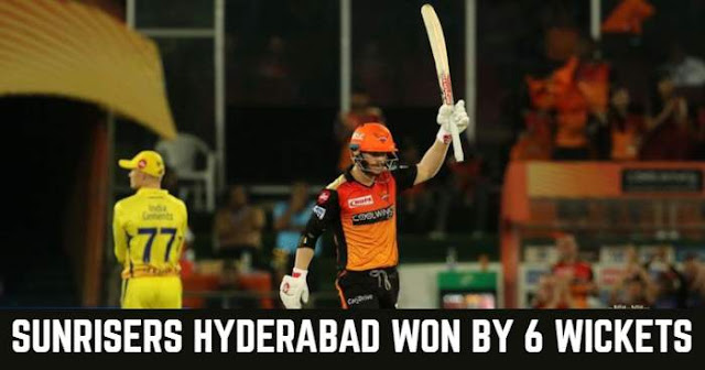Sunrisers Hyderabad won by 6 wickets