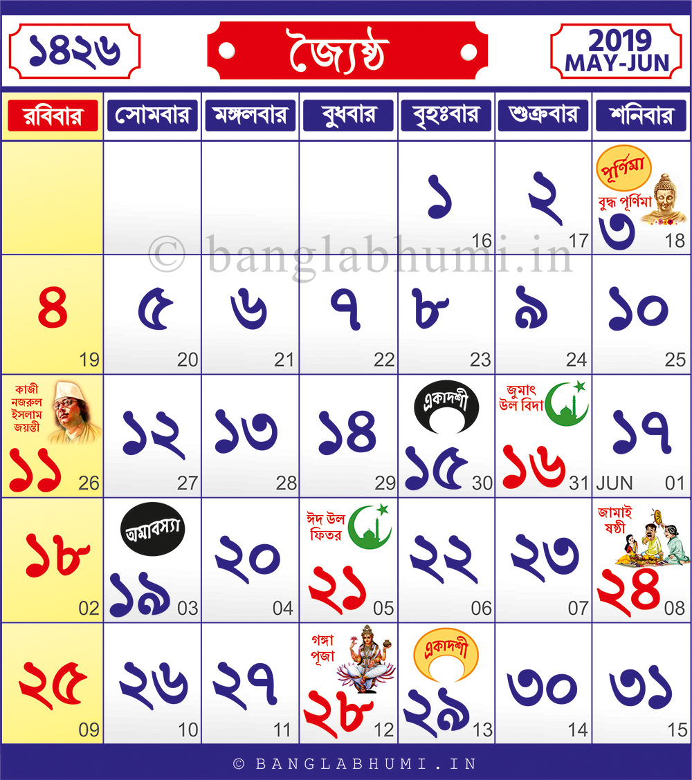 1426 Jaistho : 16 May 2019 - 16 June 2019 : 1426 Bengali Calendar