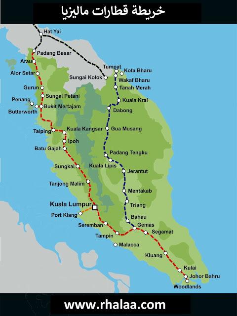 خريطة القطارات فى ماليزيا Malaysia Railway Trains Map