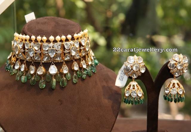 Kundan Choker Jhumkas by Nikitha Jewellers