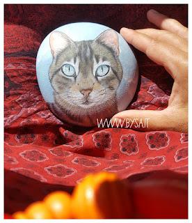 Gatto ritratto dipinto su sasso  regalo speciale