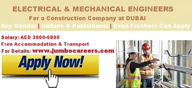 Mechanical Engineer vacancy for freshers in Dubai 2018. Electrical Engineer vacancy freshers in Dubai 2018. Engineering freshers salary in Dubai.