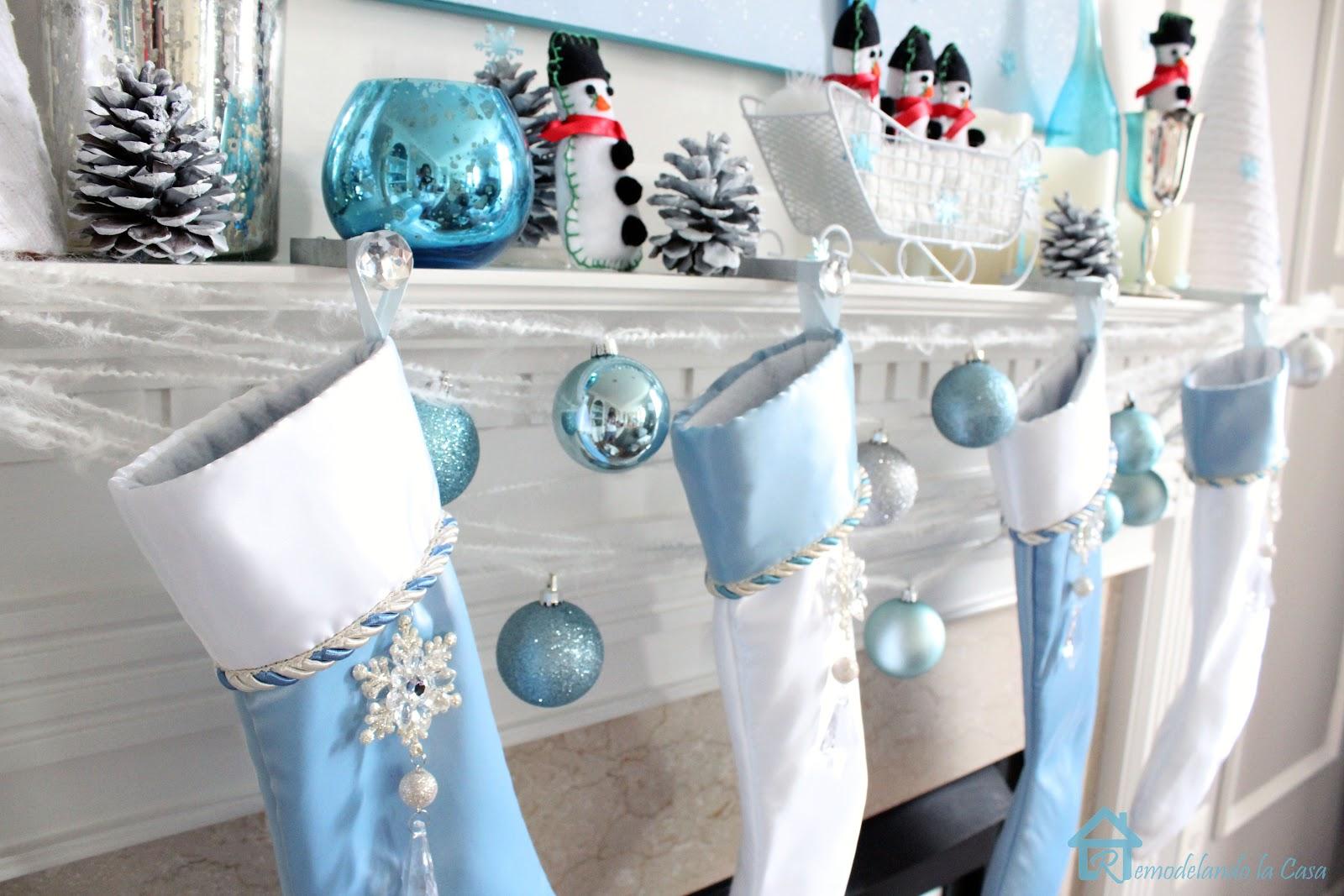 blue christmas mantel - Blue Grey Christmas Decorations