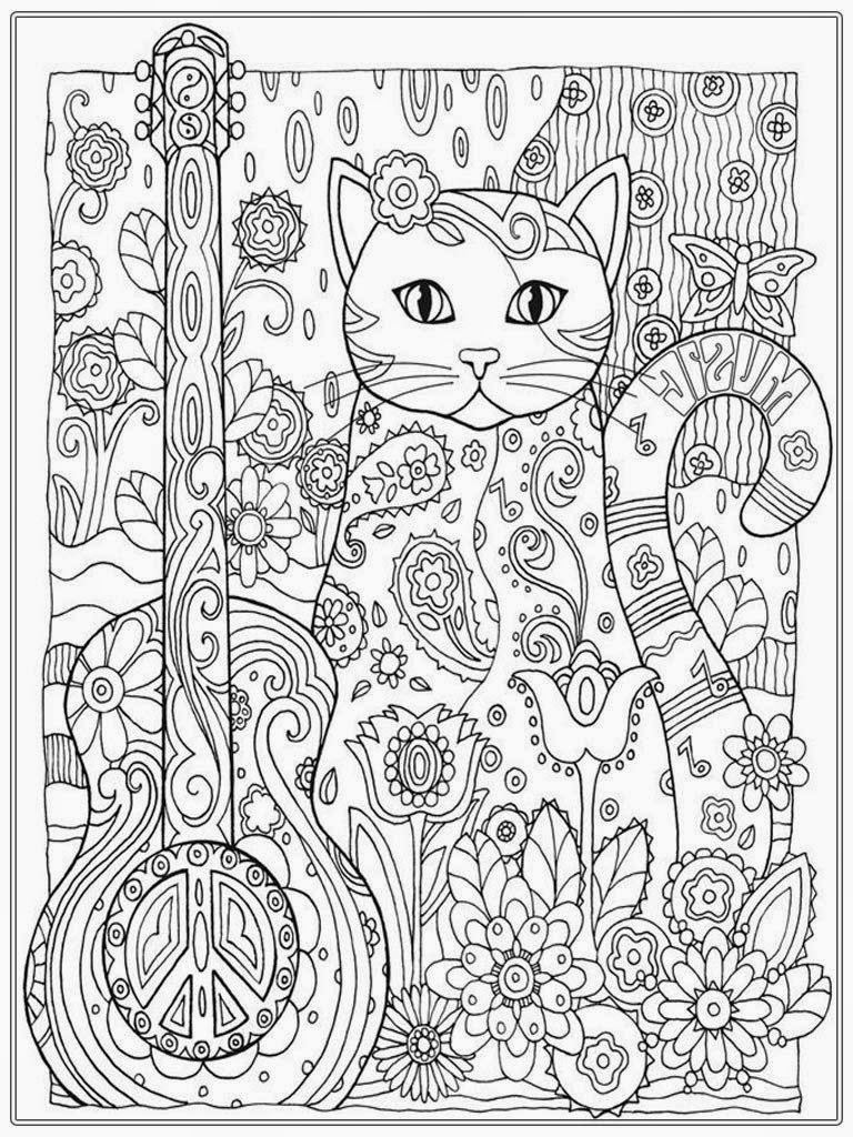 Cat coloring pages for adult realistic coloring pages for Coloring pages to print for adults