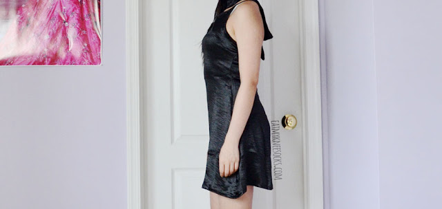 Black v-neck silky satin slip dress with matching choker from Dresslink.