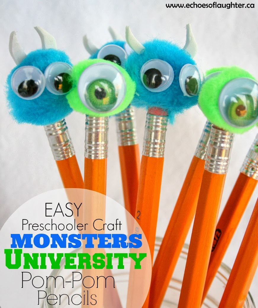 monsters inc craft ideas monsters pom pom pencils craft echoes of 4988
