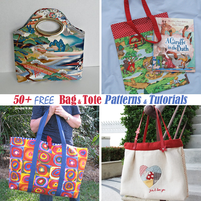 50+ Free Bag & Tote tutorials & patterns - handbags, beach bags, messenger bags, tote bags, carry all bags, book bags and grocery bags. Threading My Way