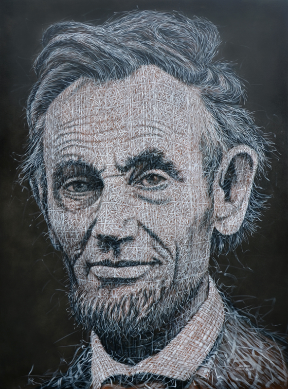 02-Abraham-Lincoln-Alexi-Torres-Woven-Oil-Paintings-www-designstack-co