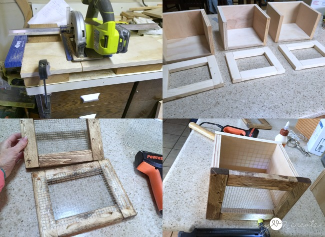 scrap wood to build storage shelf bins
