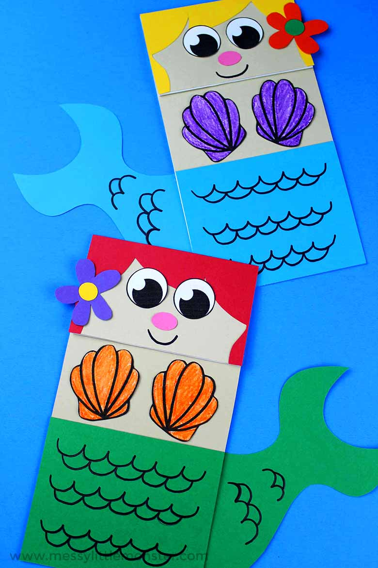 paper bag crafts - mermaid paper bag puppet
