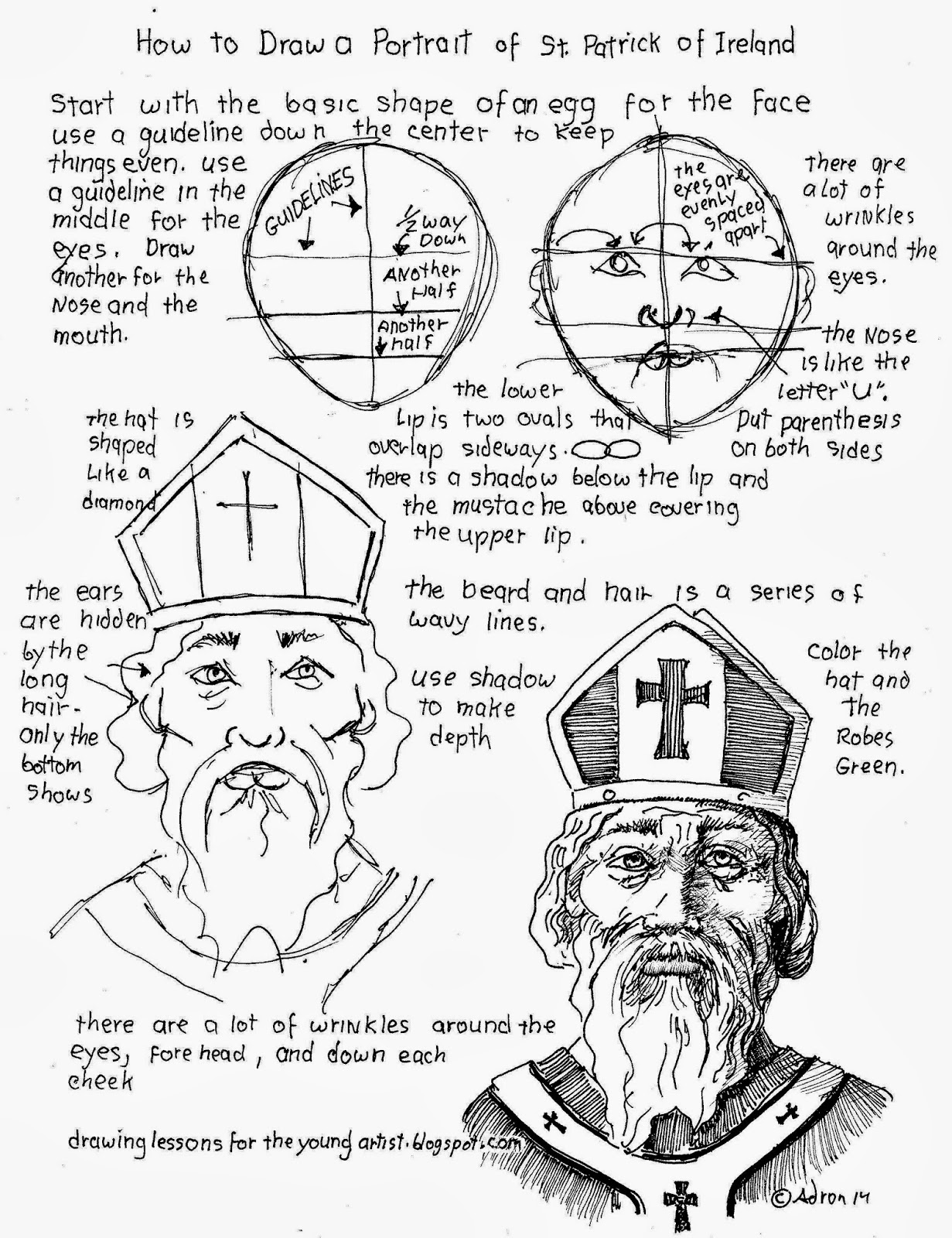 How To Draw Worksheets For The Young Artist How To Draw A Portrait Of St Patrick Of Ireland