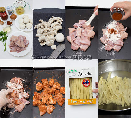 俄羅斯雞肉意大利闊麵製作圖 Chicken Stroganoff Fettuccine Procedures01