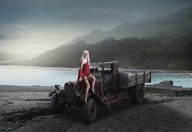 Woman and Old Truck