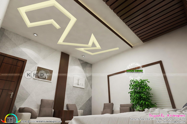 Modern Master Bedroom With False Ceiling Design Kerala Home Design And Floor Plans