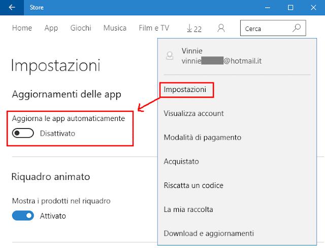 Windows 10 disattivare aggiornamento app automatico