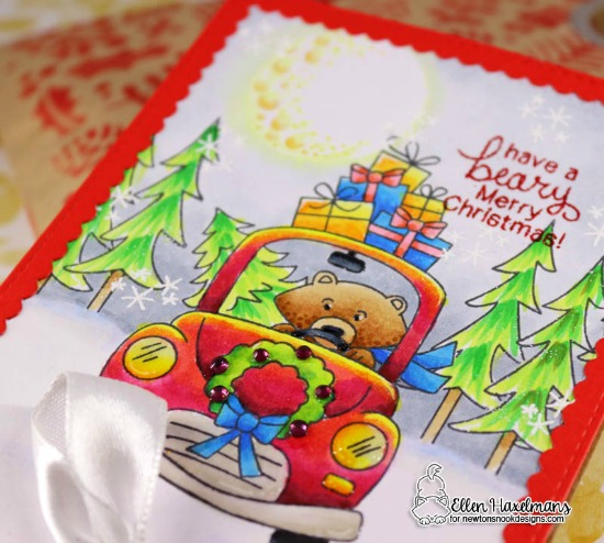 A Beary Merry Christmas Card by Ellen Haxelmans | Winston's Home for Christmas and Fox Hollow Stamp Sets by Newton's Nook Designs #newtonsnook