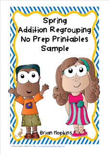 Spring Addition Regrouping No Prep Printables Sample FREEBIE