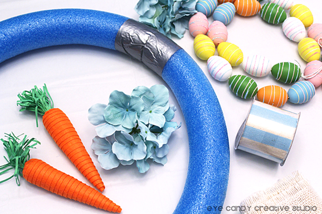 supplies need to make an easter wreath, pool noodle, carrot, egg garland
