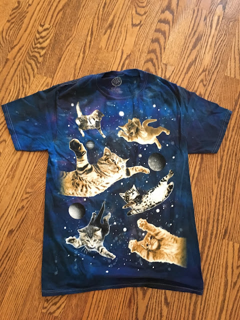 Big/Little T-shirt cat and outerspace
