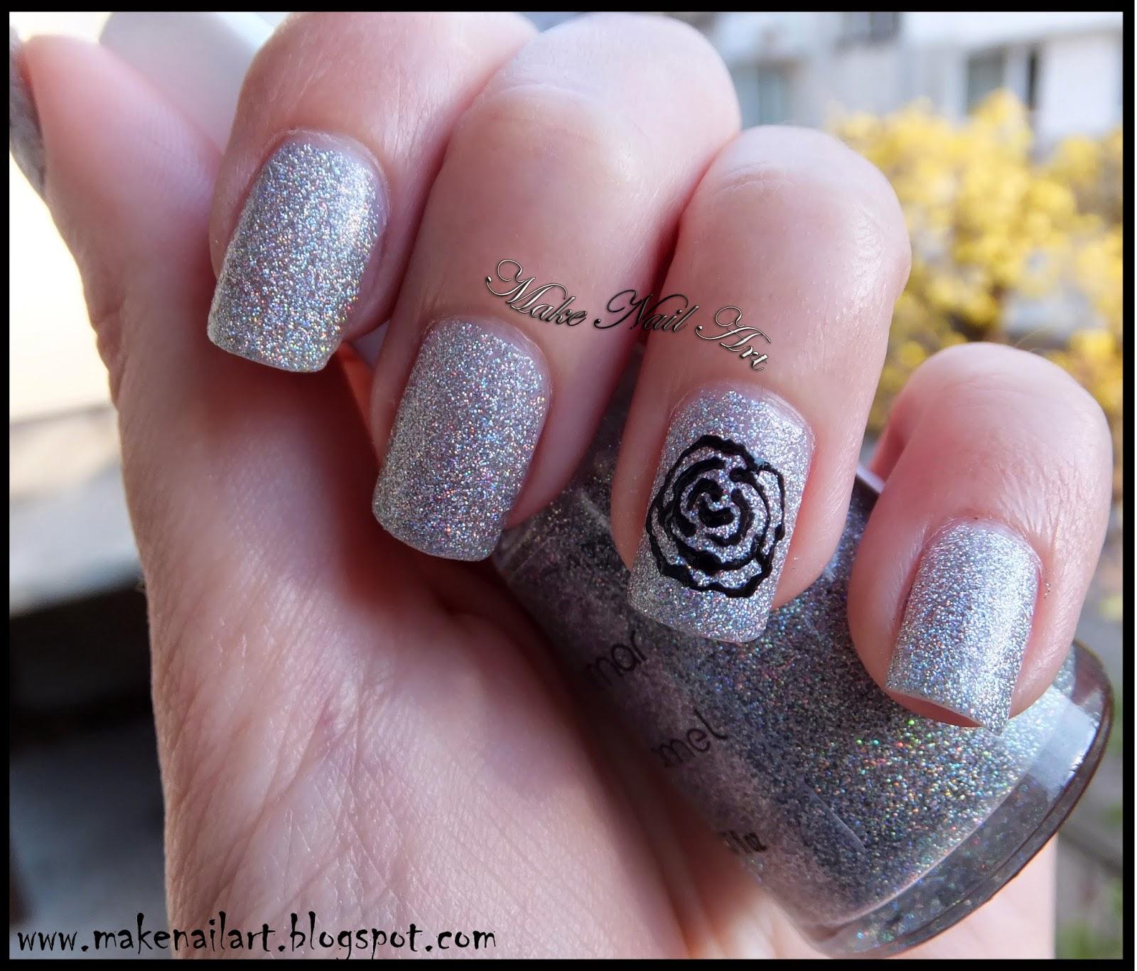 Make Nail Art: Easy Black Rose Nail Art Tutorial