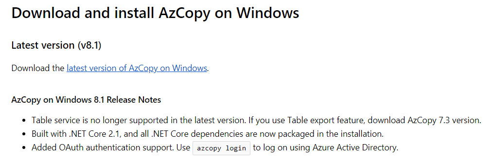 Importing blob to the local Virtual Machine C drive by using Azcopy