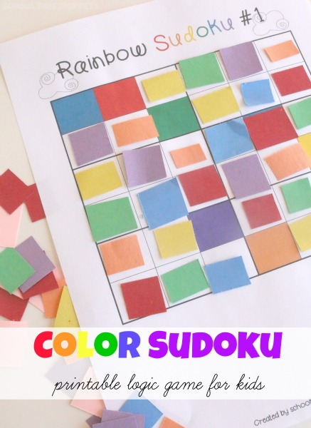 Color Sudoku Puzzles For Kids 4 Printable Board Games
