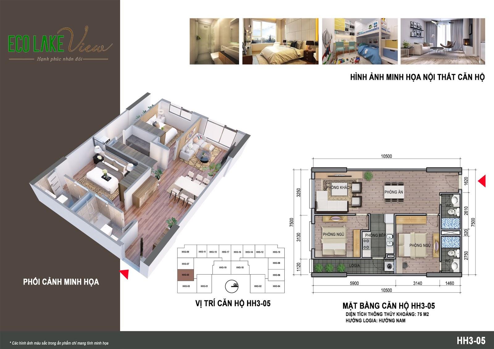 Thiết kế căn hộ 03 tòa HH03 Eco Lake View