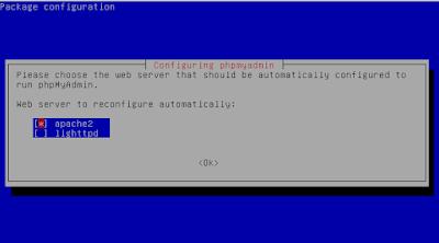 Pilih apache2 karena webserver kita adalah apache dengan cara pencet spasi untuk memilih lalu tab enter
