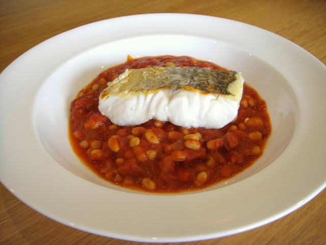 Pan-fried Hake with Chorizo and Bean Stew