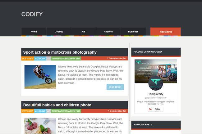 Codify - Magazine Blogger Template