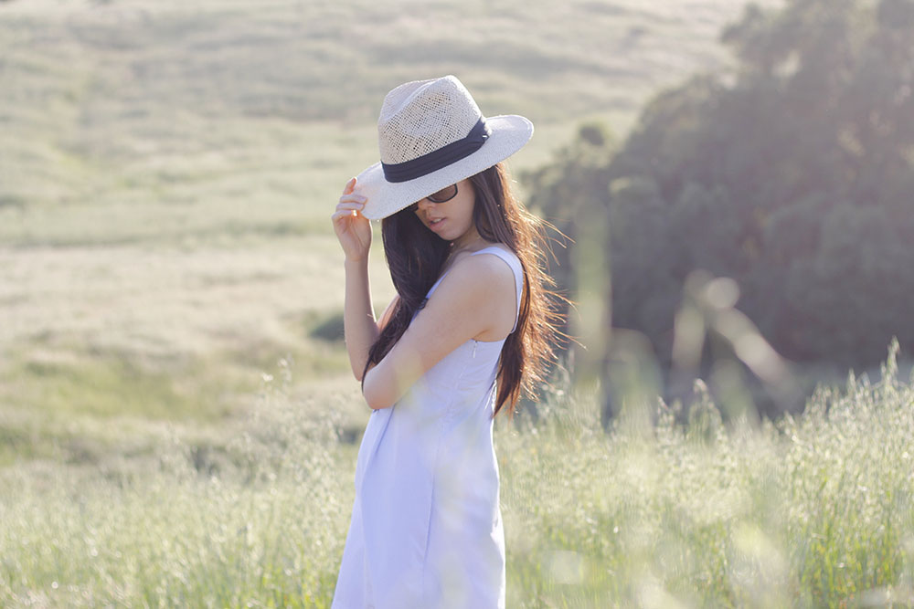 Adrienne Nguyen_Boho_fedora and blue and white striped dress