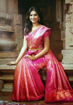 Gorgeous Indian Bride In Pink Rose Color Pattu Saree.