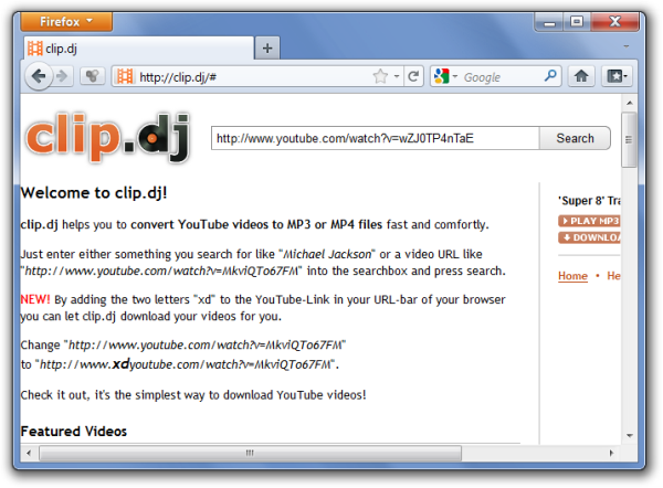 Convert And Download YouTube Videos To HQ Mp4 & Mp3 With Clip DJ