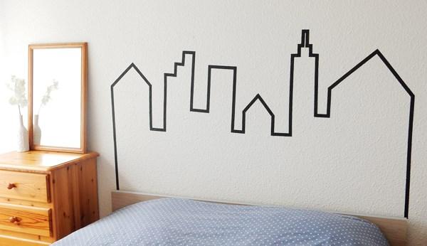 DIY tête de lit en masking tape