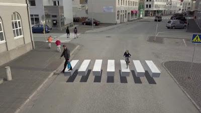 Los pasos de cebra en 3D para evitar atropellos a peatones