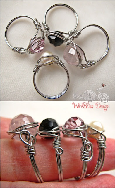 simple wire wrapped rings with Swarovski Crystals