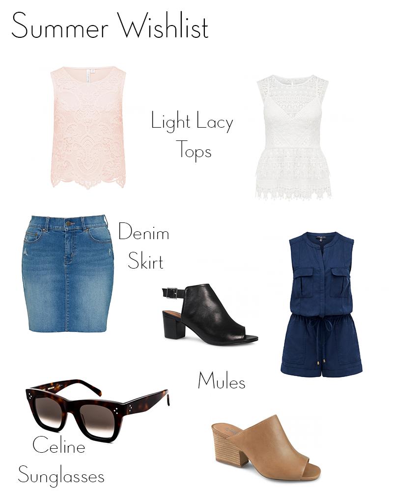 summer wishlist 2016, denim skirt, forever new lace top, navy playsuit, black mules, tan mules, celine sunglasses, wittner, sportsgirl